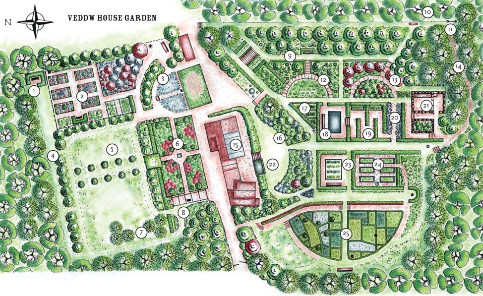 Veddw House Garden - Garden Plan - Garden Map   Veddw